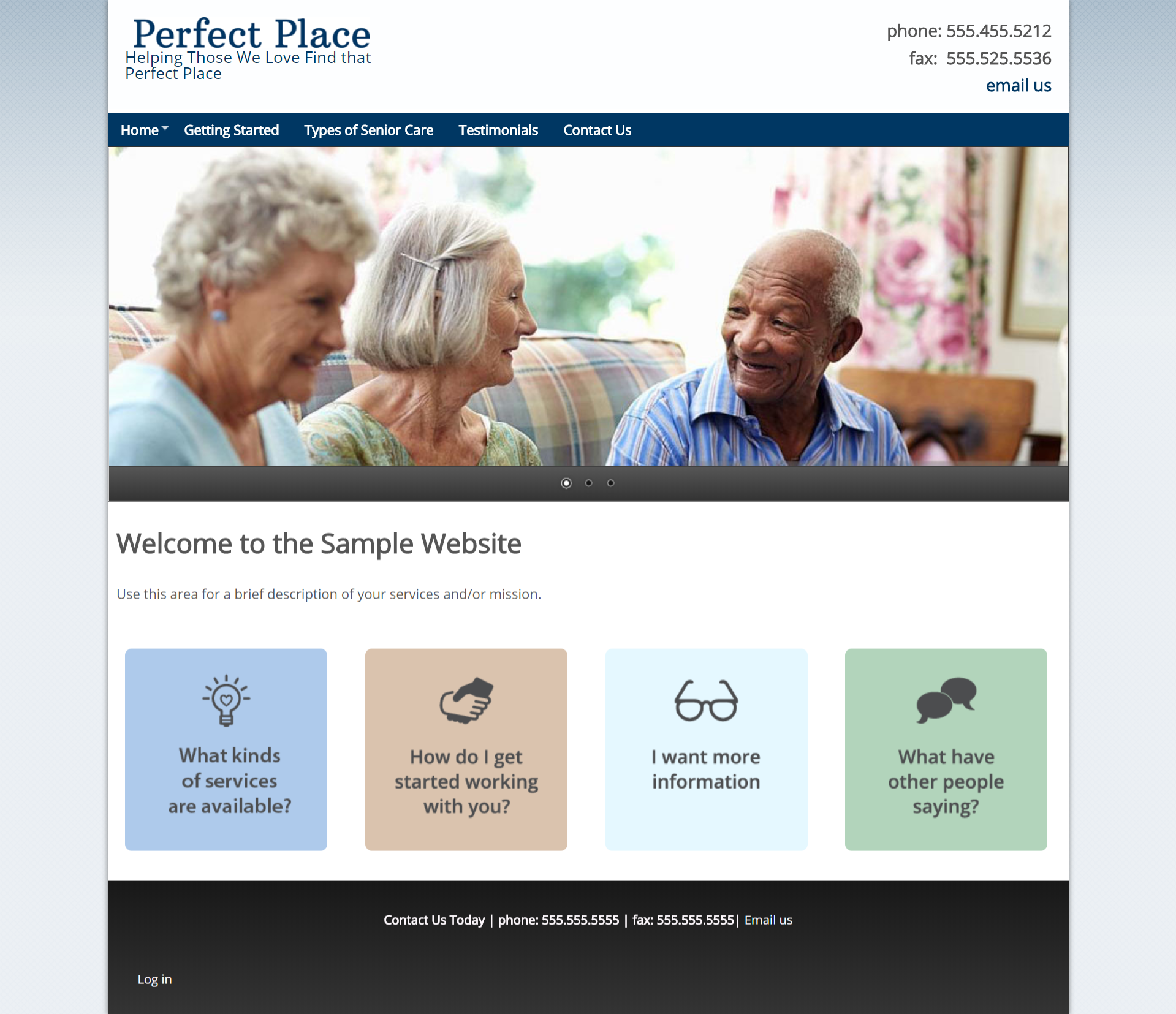 Perfect Place Sample site screenshot